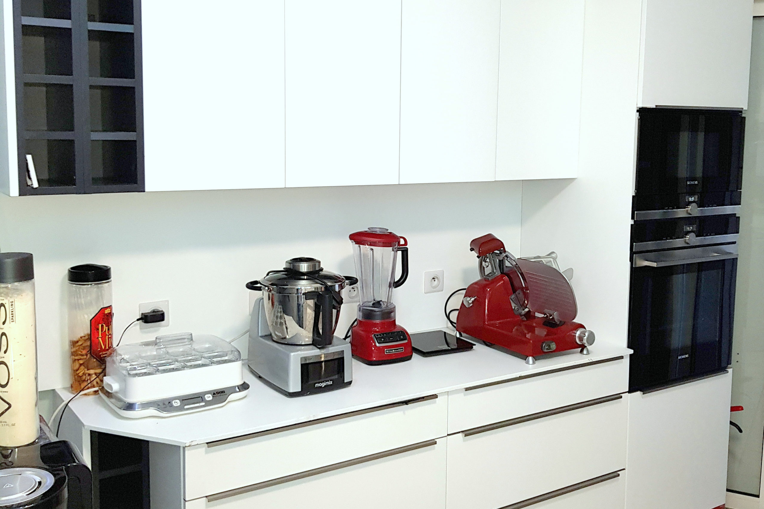 Shared kitchen of the residence - yoghurt machine, slicer, blender, Magimix, microwave and rotary heat oven