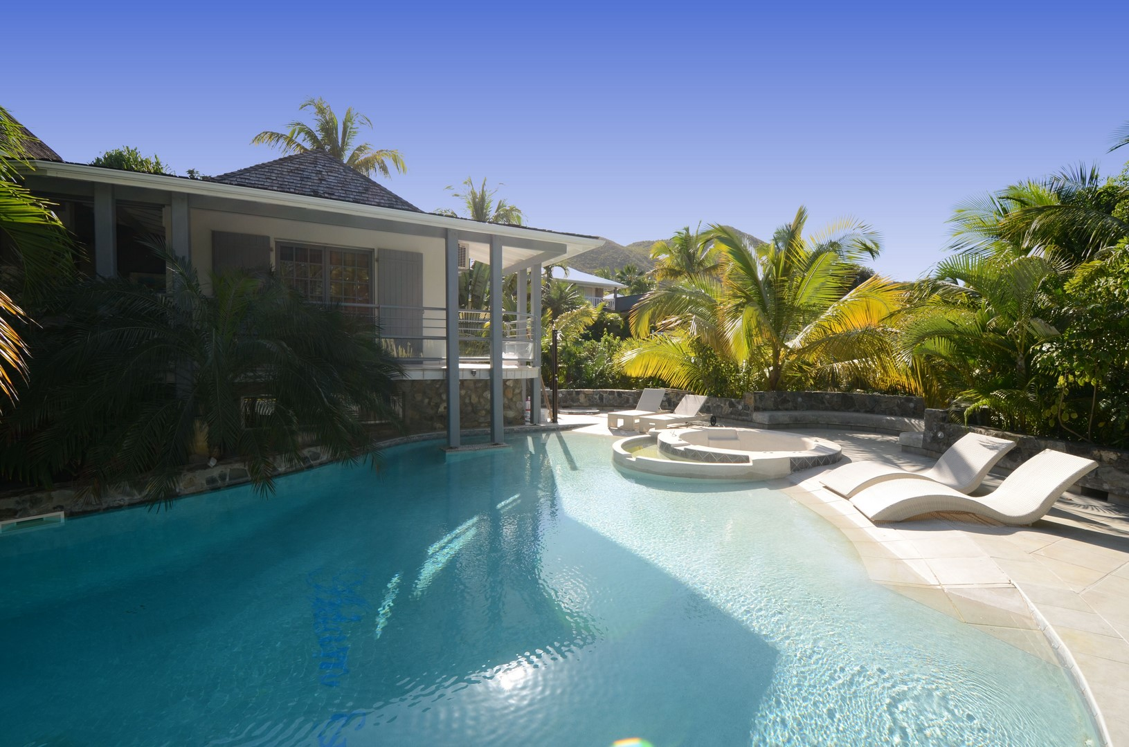 """Swimming pool and jacuzzi in the heart of the tropical garden in front of the studio """"Master"""""""